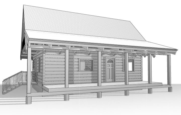 picture of 24x32' log cottage with porch, side view